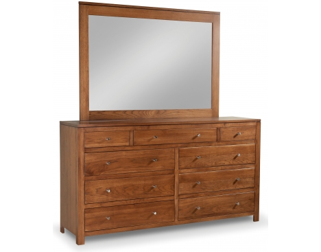 Modern 9-Drawer Double Dresser with Tall  Wide Mirror Image