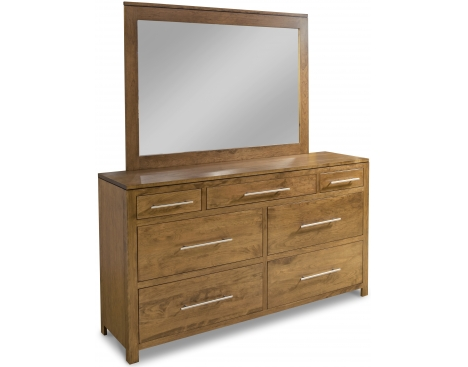 Modern 7-Drawer Double Dresser with Tall Wide Mirror Image