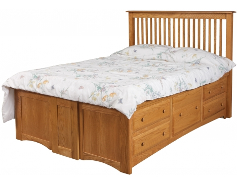Simplicity Queen Pedestal Bed w/10 Drawers 5 per side Image