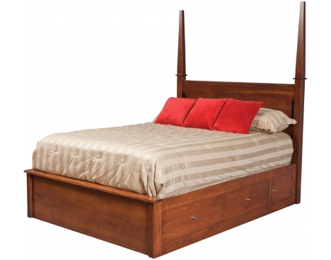 Modern Queen Pencil Post Pedestal Bed w/ 60
