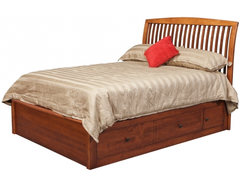 "Holmes Queen Pedestal Bed w/2 60"" Wide Side Drawers Image"