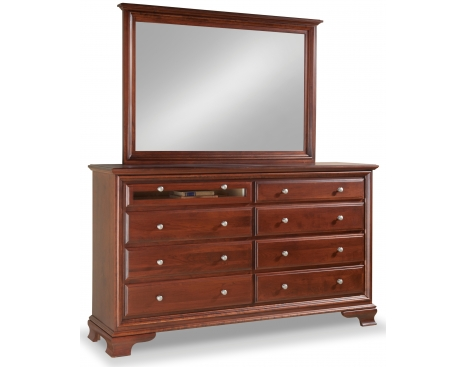 Classic 8-Drawer Double Dresser w/ Tall Wide Mirror & Media Drawer Image